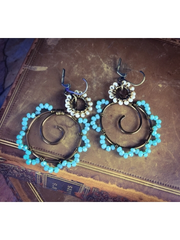 Turquoise and sand crystal wired Earrings