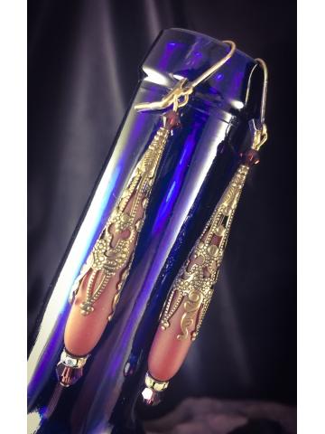 Tuscan Red  Sea Glass Tear drop and brass filigree earrings