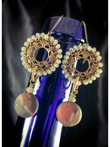 Red Creek Jasper Earrings hand wired sand crystal filigree brass