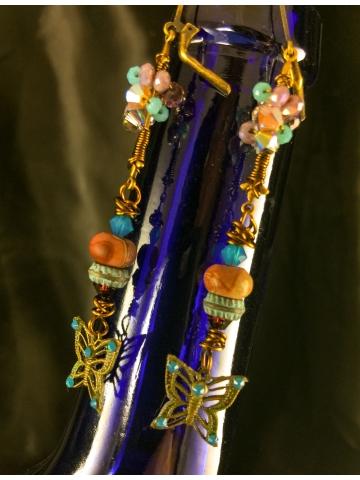 Morphed Monarch Earrings Brass Swarovski crystal boho