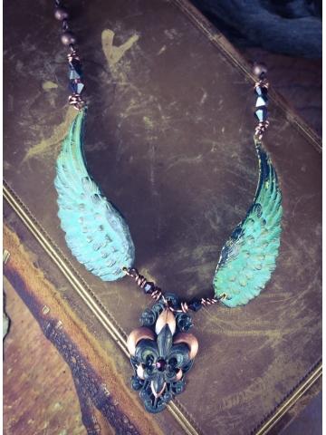 Verdigris Fleur De Lis winged necklace